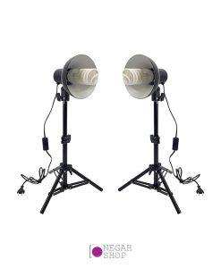 کیت دو تایی هولدر لامپی کاسه دار به همراه لامپ و سه پایه